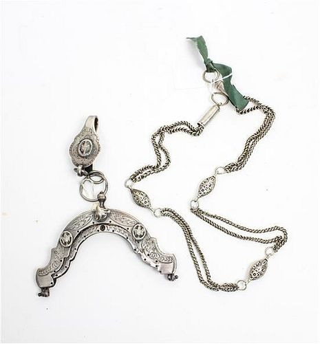 A Group of Two Silver Articles, , comprising a chain-link belt marked with Ottoman Empire hallmarks and a continental silver