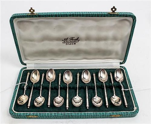 * A Set of Twelve French Silver-Plate Coffee Spoons, Societe Francaise d'Alliages et de Metaux, Early 20th Century, having a