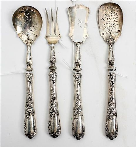 * A Group of Four French Silver Serving Items, Louis Ravinet & Charles Denfert, comprising a bonbon spoon, pickle fork, sugar