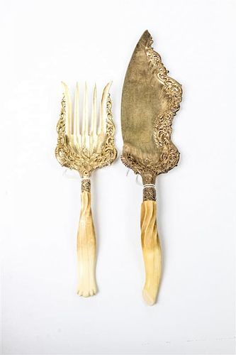 Two Whiting Gilt Washed and Antler Handled Serving Articles Length of longer 14 1/4 inches.
