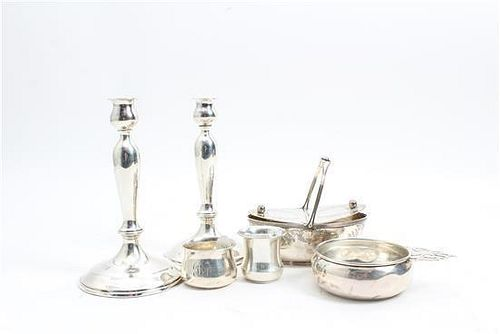 * A Group of Six American Silver Articles, Various Makers, comprising a condiment boat, porringer, two child's cups and a pai