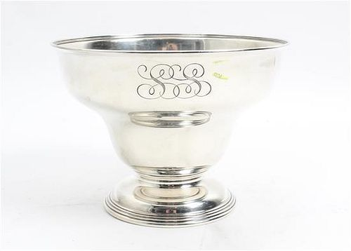 * An American Silver Center Bowl, Gorham Mfg. Co., Providence, RI, having an inverted bell form body with a circular foot, th