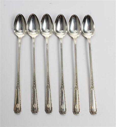 A Set of Six American Silver Iced Tea Spoons, Towle Silversmiths, Newburyport, MA, Louis XIV pattern.