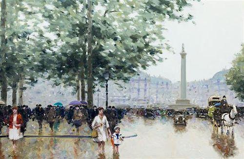 Andre Gisson, (French, 1921-2003), Paris Street Scene