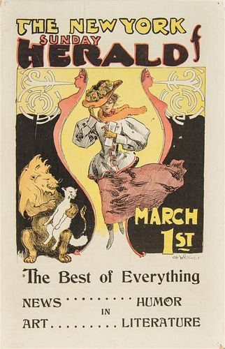 Charles Hubbard Wright, (American, 1870-1939), The New York Sunday Herald March 1st together with a group of three advertisem