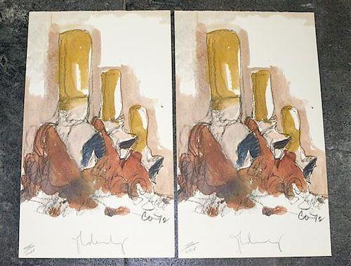 * Claes Oldenburg, (American, b. 1929), Untitled, 1972 (two works)
