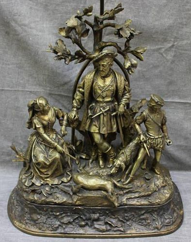 Antique Romanticism Bronze Figural Hunting Group