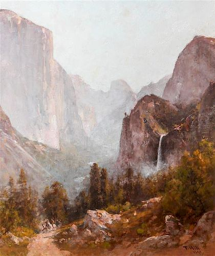 Thomas Hill, (American, 1829-1908), Indians in Yosemite, 1899