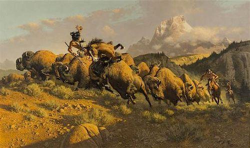 Frank McCarthy, (American, 1924-2002), Buffalo Hunt