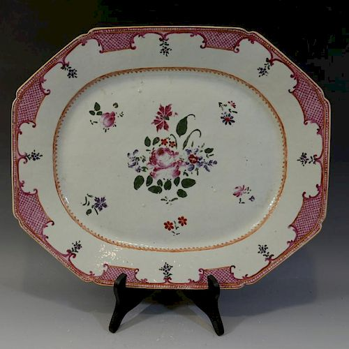 LARGE ANTIQUE CHINESE FAMILLE ROSE PORCELAIN PLATTER - 18TH CENTURY