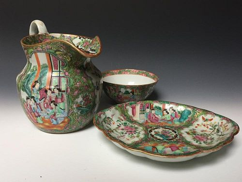 A GROUP OF CHINESE ANTIQUE FAMILL ROSE PORCELAIN JAR, PLATE AND BOWL