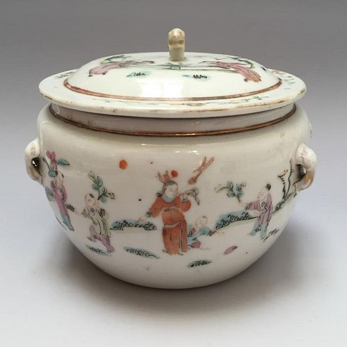 CHINESE ANTIQUE FAMILLE ROSE POT 18/19TH CENTURY