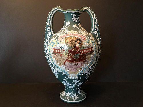 "ANTIQUE Japanese Satsuma Miage Vase with figurines, 1900-1920. 13"" high"