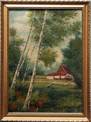 Artist Unknown (B... Bosa?),  Austrian-Hungarian ?, (distant cottage),