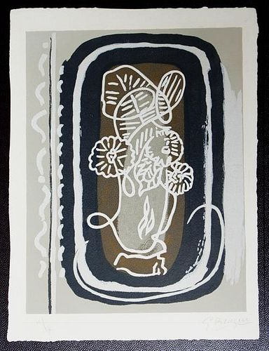 "Braque, Georges,   French (1882-1963),""Bouquet des Fleurs Blanches"" from ""Apollinaire, Si je Mourais la-bas"",V. 181"
