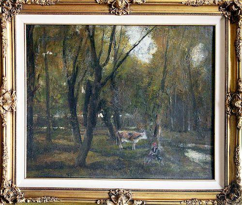 Burghardt-Zsombolya Rezsö,  ,   Hungary (1884-1963),(cow in forest),