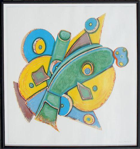 "Murray,       Elizabeth ,  American 1940 - 2007,""Clock"" (whimsical yellow, green blue, tan abstract), G8; H5"