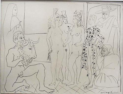 """Picasso,      Pablo,   Spanish 1881-1973, """"Les Trois Femmes et le Torero"""",, B755"""