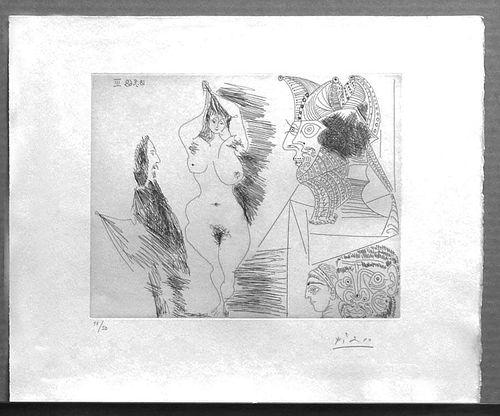 """Picasso, Pablo,  Spanish 1881-1973,""""JEUNE FEMME ET GENTILHOMME SCULPTURE EGYPTIENNE AU SOCLE PEINT"""" from 347 Series, No. 323,"""