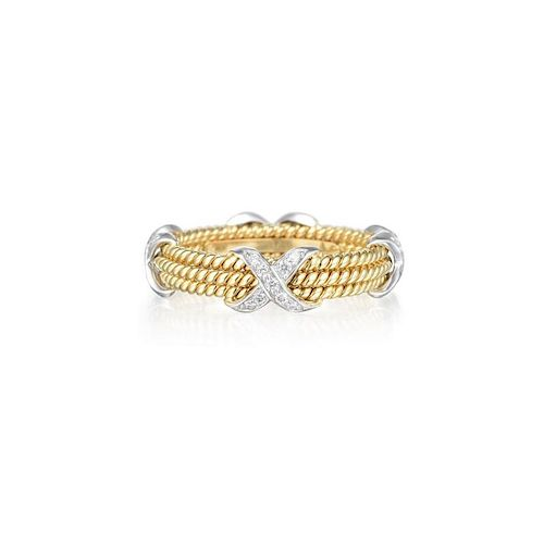 278cc25a6 Tiffany & Co. Schlumberger Three-Row Gold Rope and Diamond