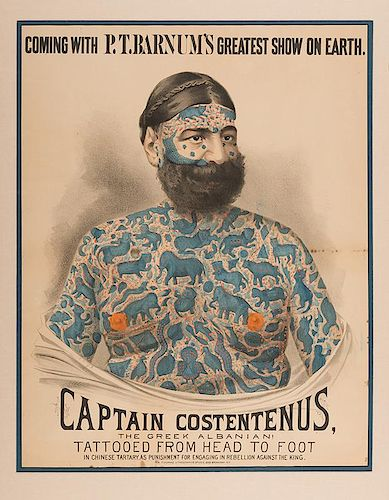 Captain Costentenus the Greek Albanian. Tattooed from Head to Foot.