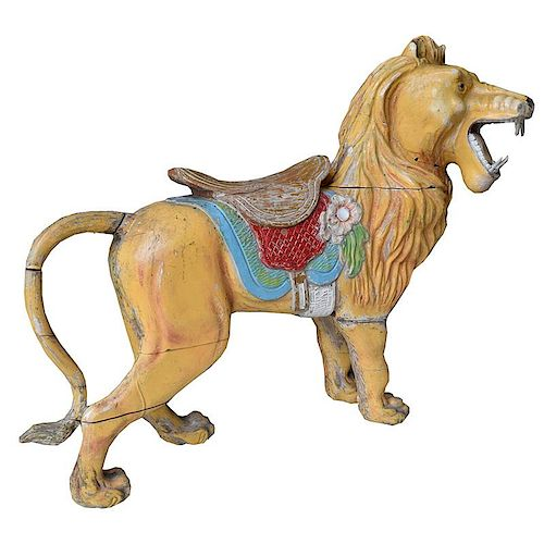 Pair of Antique French Carousel Lions.