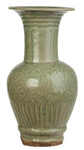 Longquan Celadon Trumpet Vase