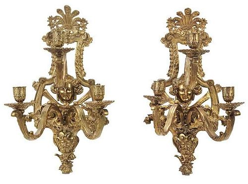Pair Brass Louis XVI Style Wall Sconces