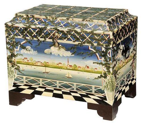 Folk Art Paint Decorated Lift Top Box
