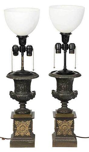 Pair of Regency Style Bronze Urn Form Lamps