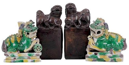 Two Pairs of Chinese Foo Dogs