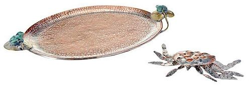 Emilia Castillo Silver-Plate Tray and Crab