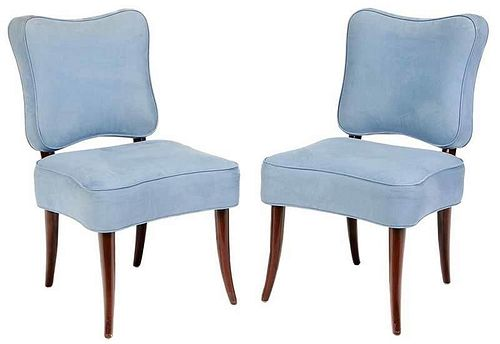 Pair Nancy CorzineBlue Upholstered Side Chairs
