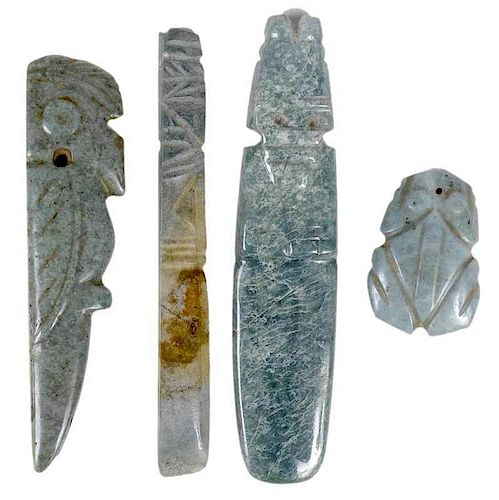 Four Latin American Carved Jade Objects