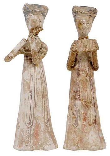 Pair Tang Dynasty Clay Musicians
