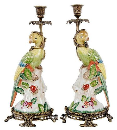 Pair Chinese Export Style Bronze Mounted Parrots