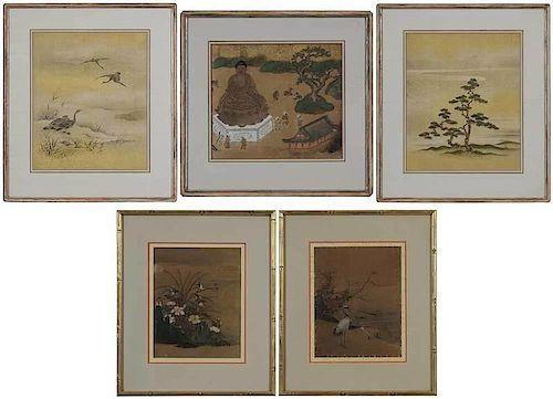 Group of Five Edo School Framed Paintings