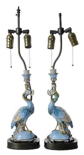 Pair Porcelain Peacock Candlestick Lamps
