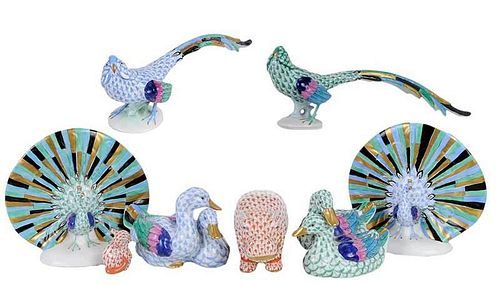 Eight Herend Fishnet Animal Figures