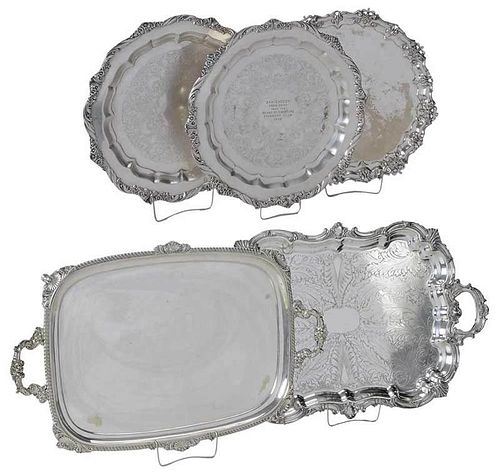 Five Silver-Plated Trays