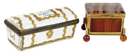 Two Continental Trinket Boxes / One in Agate