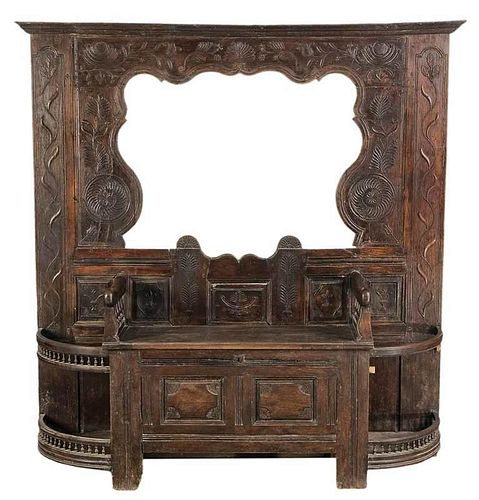 Provincial Carved Oak Hall Stand