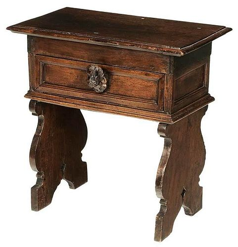 Italian Baroque Carved Walnut Side Table