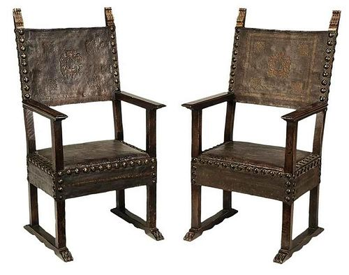 Pair Spanish Baroque Style Leather Arm Chairs