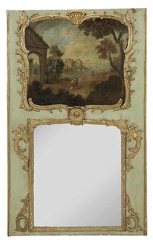 Louis XV Painted and Parcel Gilt Trumeau Mirror