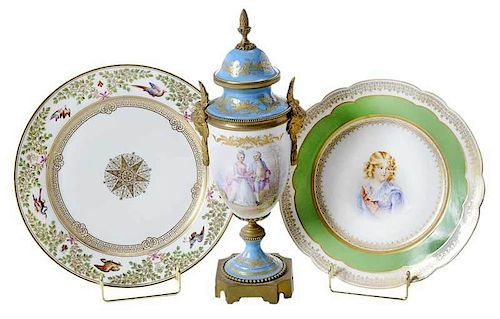 Three Sevres Style Table Objects