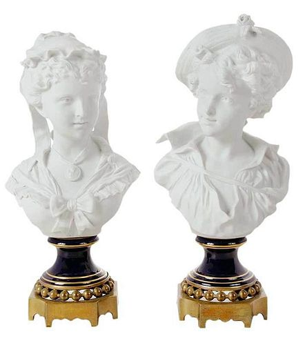 Pair of Parian Sevres Busts