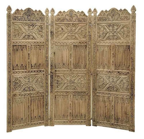 Gothic Style Carved Oak Three Panel Room Screen