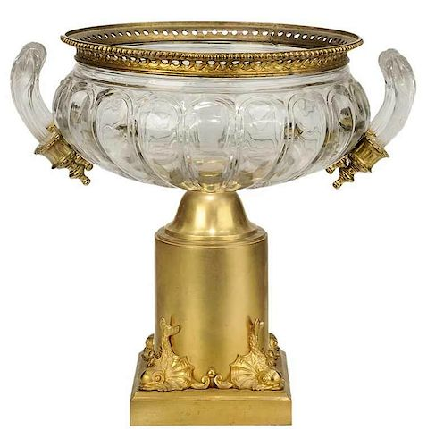 Large Gilt Bronze Mounted Cut Crystal Urn