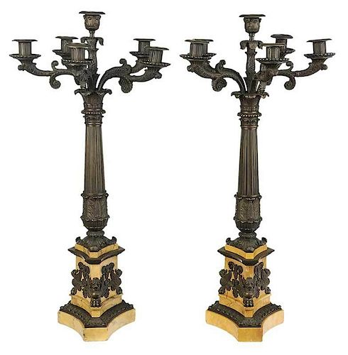Pair of Sienna Marble and Bronze Candelabra